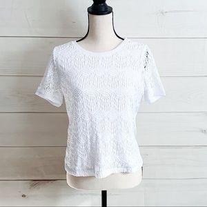 NWT Rebecca Malone White Crochet Lace Top